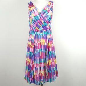 Jones New York 90's Color Inspired Pleated Dress
